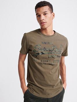 Superdry Superdry Vintage Logo Shirt Store Bonded T-Shirt - Khaki Picture