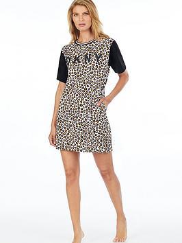 DKNY  Dkny Leopard Print Logo Sleepshirt - Leopard