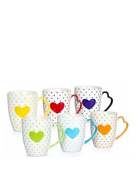 WATERSIDE Waterside Set Of 6 Heart Mugs With Heart Handles Picture