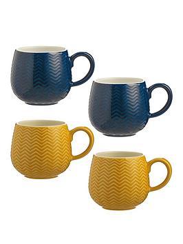 Mason Cash Mason Cash Set Of 4 Embossed Chevron Mugs Picture