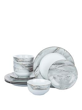 WATERSIDE Waterside Marble And Gold 12-Piece Dinner Set Picture