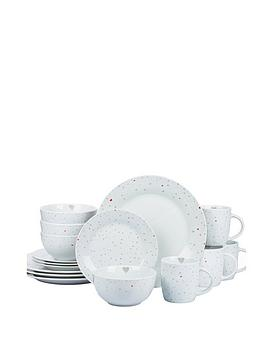 WATERSIDE Waterside 16-Piece Grey And Red Heart Dinner Set Picture