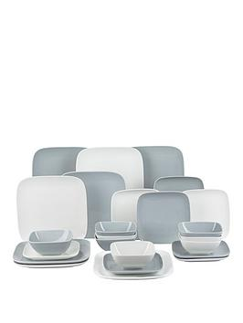 WATERSIDE Waterside Hampton Grey And White Square 24-Piece Dinner Set Picture