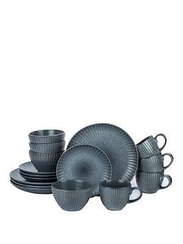 WATERSIDE Waterside Grey Textured Reactive Glaze 16-Piece Dinner Set Picture