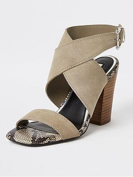 River Island River Island Suede Cross Strap Sandals - Grey Picture