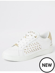 river-island-gold-detail-trainer-white