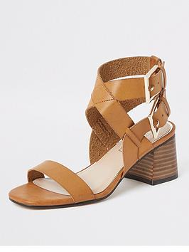 River Island River Island Two Part Block Heel Sandals - Tan Picture