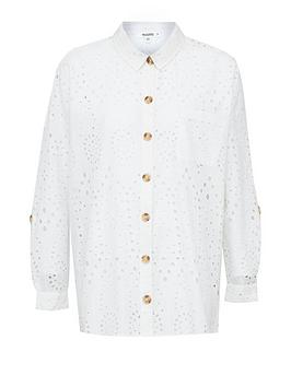Missguided Missguided Broderie Angalise Beach Shirt - White Picture