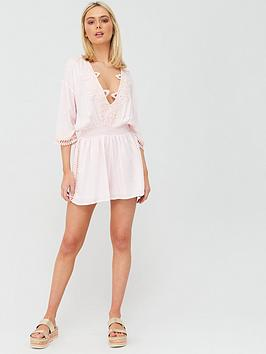 River Island River Island Plunge Lace Trim Beach Playsuit - Light Pink Picture