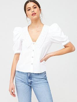 River Island River Island Puff Sleeve Collar Detail Poplin Top - White Picture