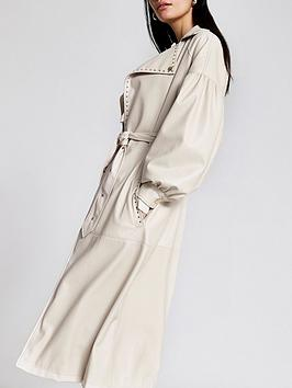 river-island-premium-faux-leather-volume-sleeve-trench-coat-white