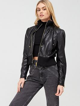 River Island River Island Faux Leather Bomber Jacket - Black Picture