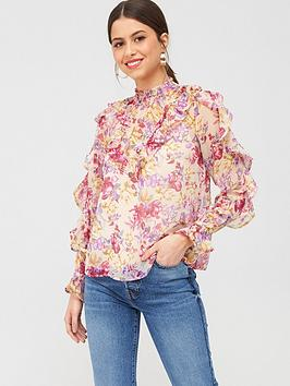 River Island River Island Sheer High Neck Frill Sleeve Blouse - Pink Picture