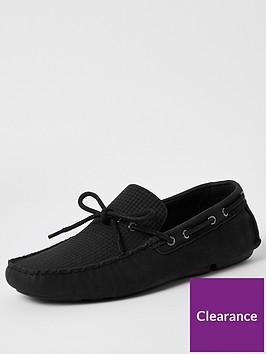 river-island-emboss-driver-shoes-black