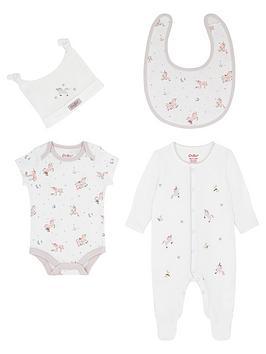 Cath Kidston   Baby Girls Unicorn Sleepsuit, Bodysuit, Hat, Bib And Bag Gift Set - Ivory