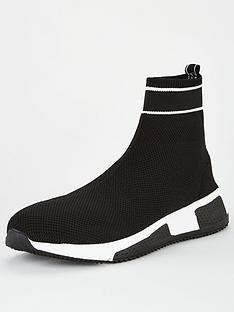 river-island-sargon-sock-runner-shoe-black