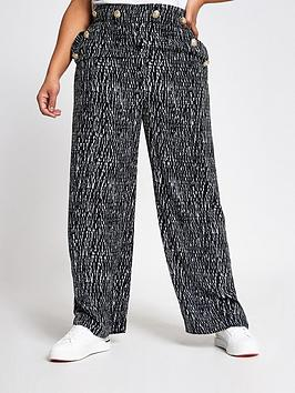 RI Plus Ri Plus Printed Wide Leg Trousers - Black/White Picture