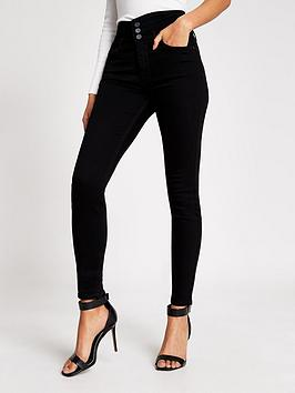 River Island River Island Hailey High Rise Button Detail Skinny Jeans -  ... Picture
