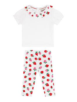Cath Kidston   Baby Girls Sweet Strawberry Top And Legging Set - Ivory