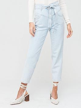 River Island River Island High Waist Peg Leg Jeans - Blue Picture