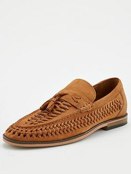 River Island River Island Woven Leather Tassel Loafers - Brown Picture