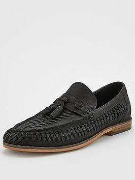 River Island River Island Woven Leather Tassel Loafers - Black Picture