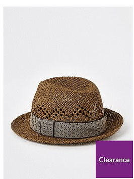 river-island-printed-trilby-hat-brown