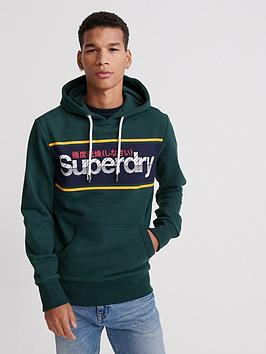 Superdry Superdry Core Logo Stripe Hoodie - Green Picture