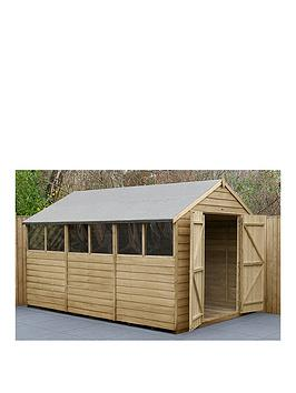 forest-12x8-overlap-pressure-treated-apex-workshop-shed-with-double-doors-with-optional-installation