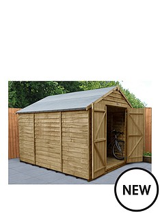 forest-10x8-overlap-pressure-treated-apex-workshop-shed-with-double-doors-installation