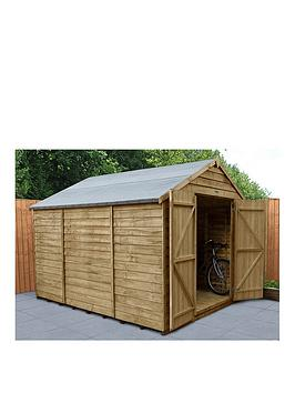 forest-10x8-overlap-pressure-treated-apex-workshop-shed-with-double-doors-with-optional-installation
