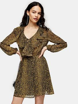 Topshop Topshop Ruffle Bed Jacket Mini Dress - Mustard Picture