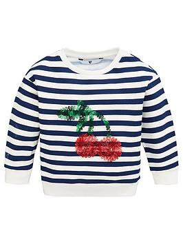 V by Very V By Very Girls Striped Cherry Ruffle Sweat - Navy Picture