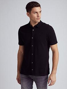 burton-menswear-london-short-sleeve-pique-shirt-black