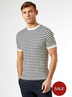 burton-menswear-london-knitted-striped-t-shirt-navyecru