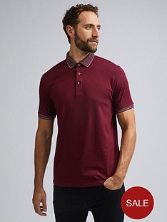 burton-menswear-london-jacquard-collar-polo-shirt-ndash-burgundy