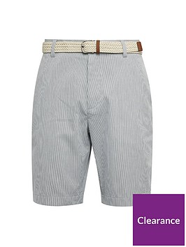 burton-menswear-london-belted-stripe-shorts-grey