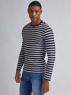 burton-menswear-london-long-sleeve-waffle-texture-t-shirt-navy