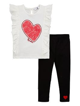 V by Very V By Very Girls Ruffle Heart Tee And Legging Set - Multi Picture