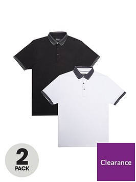 burton-menswear-london-2-pack-jacquard-collar-polo-shirts-ndash-blackwhite
