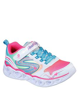 Skechers Skechers Girls Heart Lights Trainers - White Multi Picture