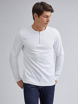Burton Menswear London Burton Menswear London Long Sleeve Zip Neck Waffle  ... Picture
