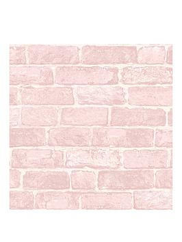 Product photograph showing Fresco Pink Brick Wallpaper