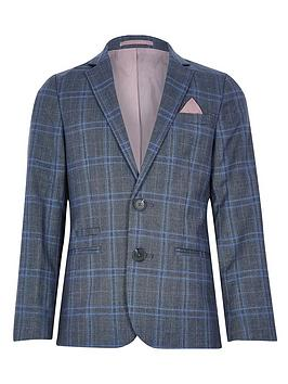 River Island River Island Boys Check Blazer Jacket - Blue Picture