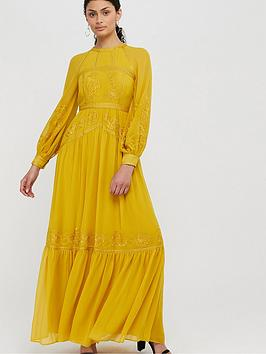 Monsoon Monsoon Florence Embroidered Long Sleeve Dress - Yellow Picture