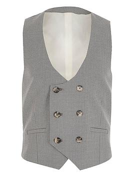 River Island River Island Boys Check Double Breasted Check Waistcoat - Grey Picture
