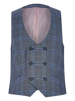 River Island River Island Boys Ceck Double Breasted Waistcoat-Blue Picture