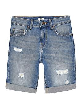 River Island River Island Boys Dylan Ripped Slim Denim Shorts-Blue Picture