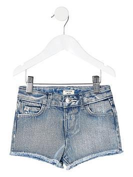 River Island Mini River Island Mini Girls Becca Denim Shorts - Blue Picture