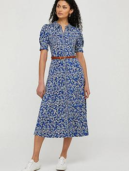 Monsoon Monsoon Darella Ditsy Print Jersey Shirt Dress - Blue Picture